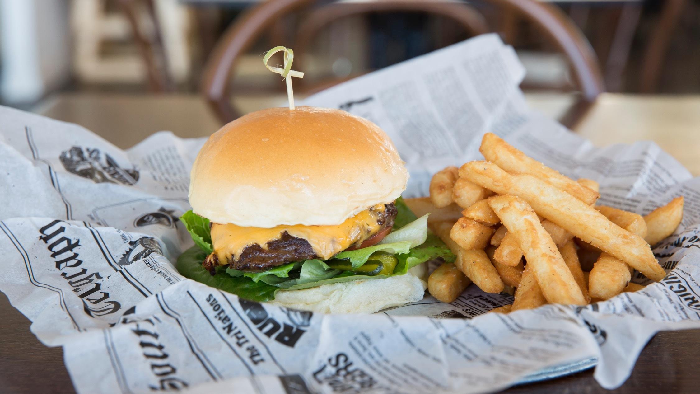 Burger and fries at The Greens