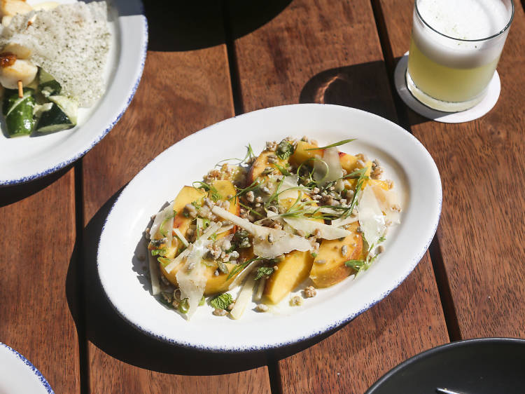 Peach and ginger salad at City Mouse