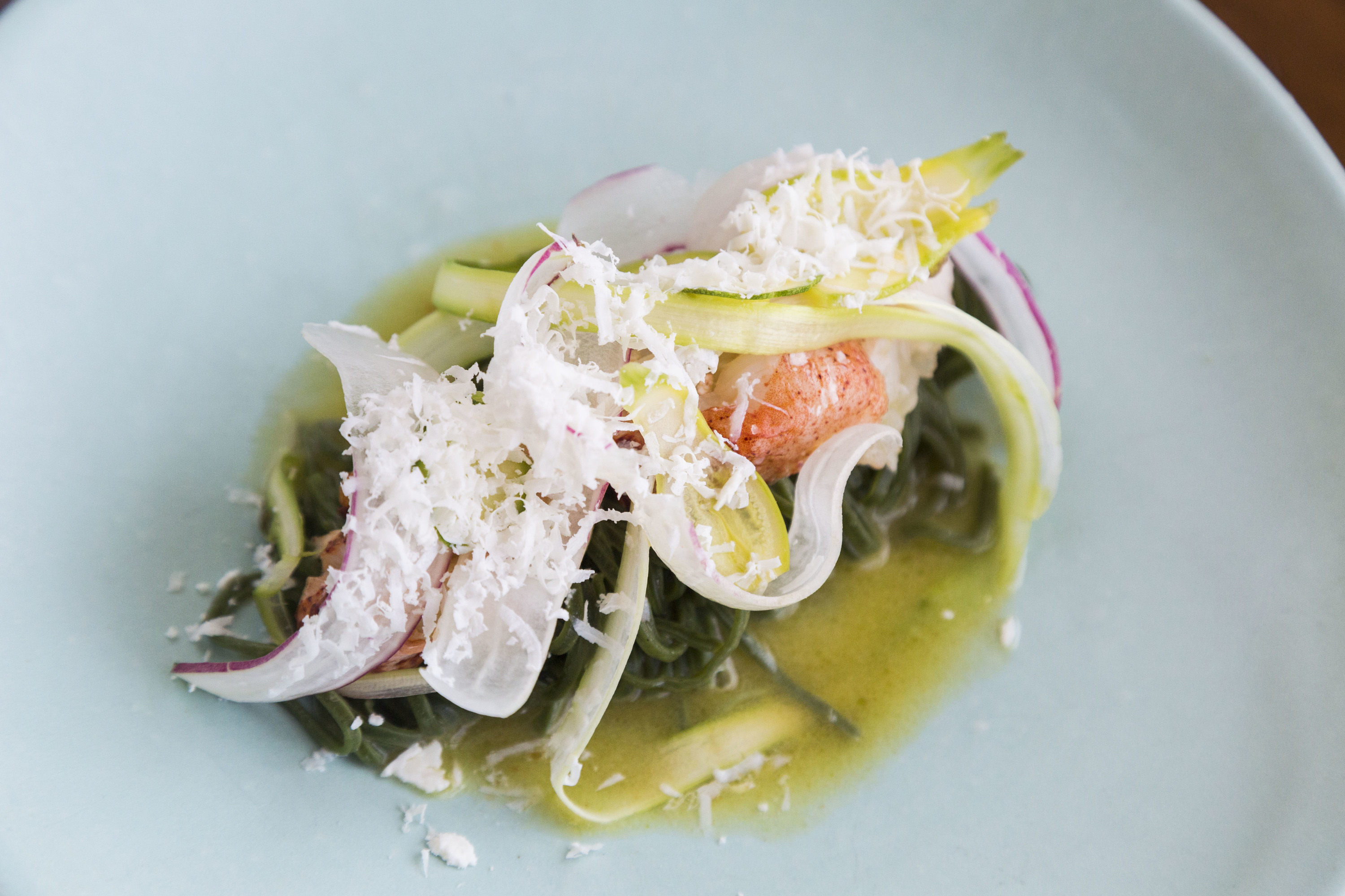 Tingling nettle pasta with crab claw at Elizabeth