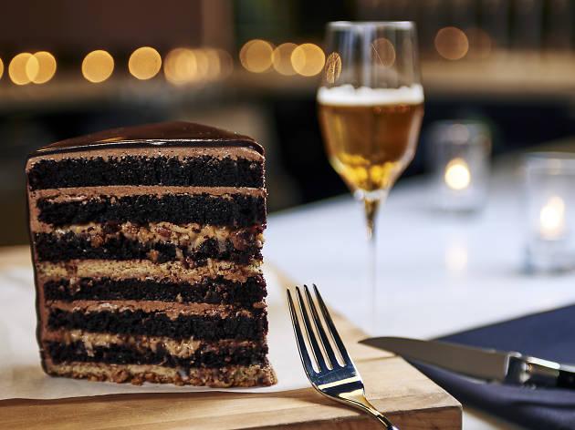 Chocolate cake at Moody Tongue Brewing