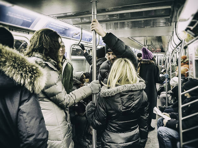 There's no reason to completely freak out just because another subway rider sits on your coat