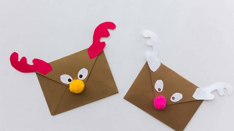 Sobre en forma de reno, manualidades, navidad, carta de navidad