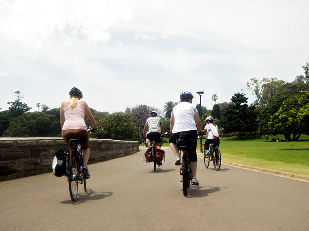 People riding bikes Royal  Botanic Gardens Sydney