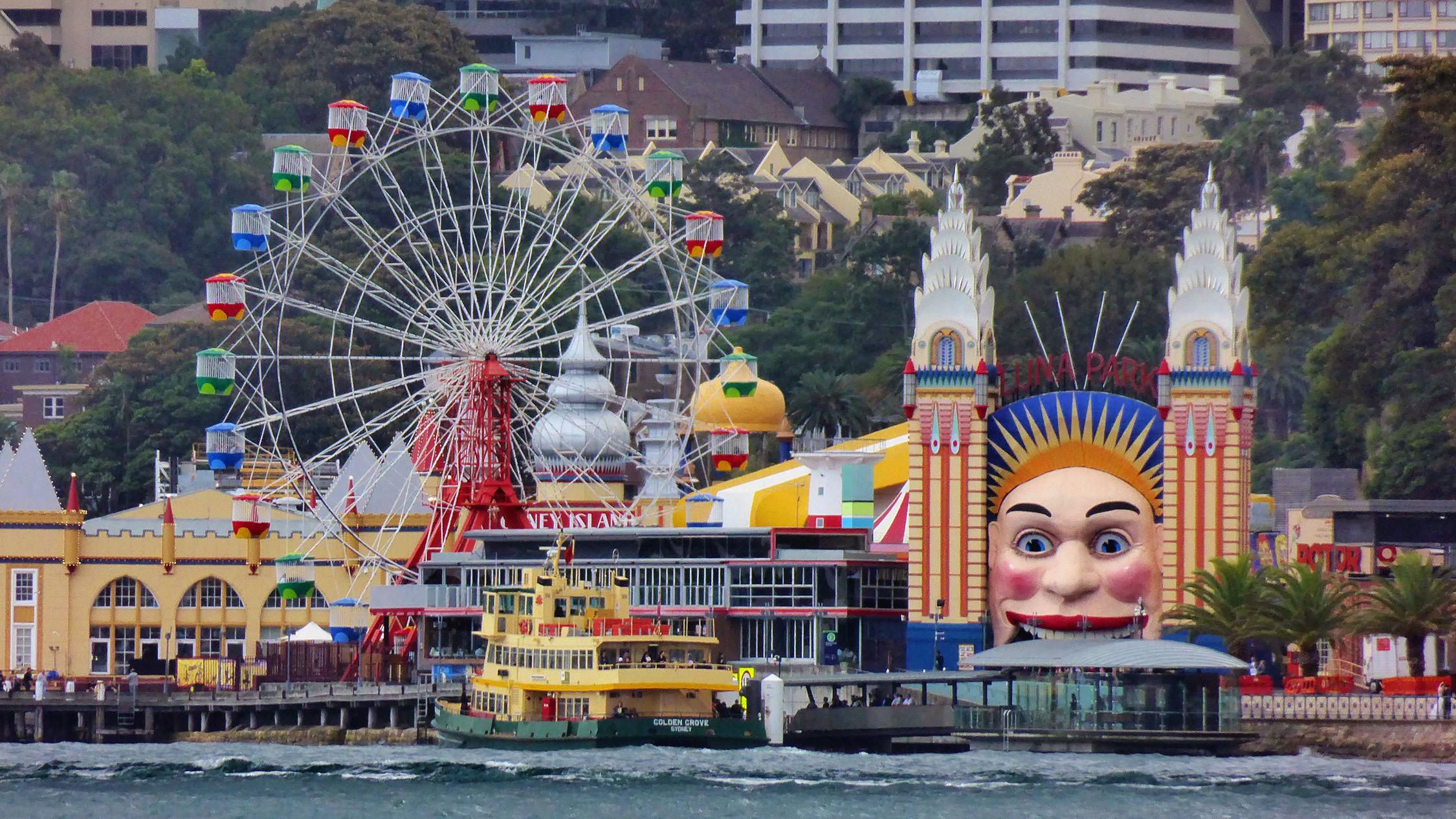 Sydney harbour at Luna Park sydney