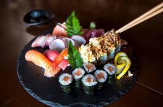 Sushi plate at Sushi Train