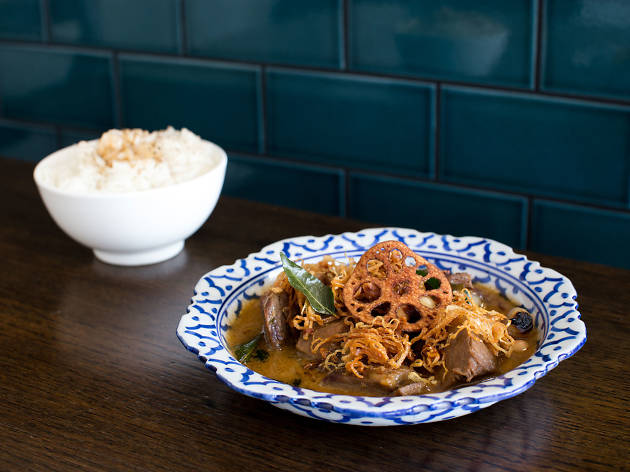 Beef massaman with scorched rice at Sparrow