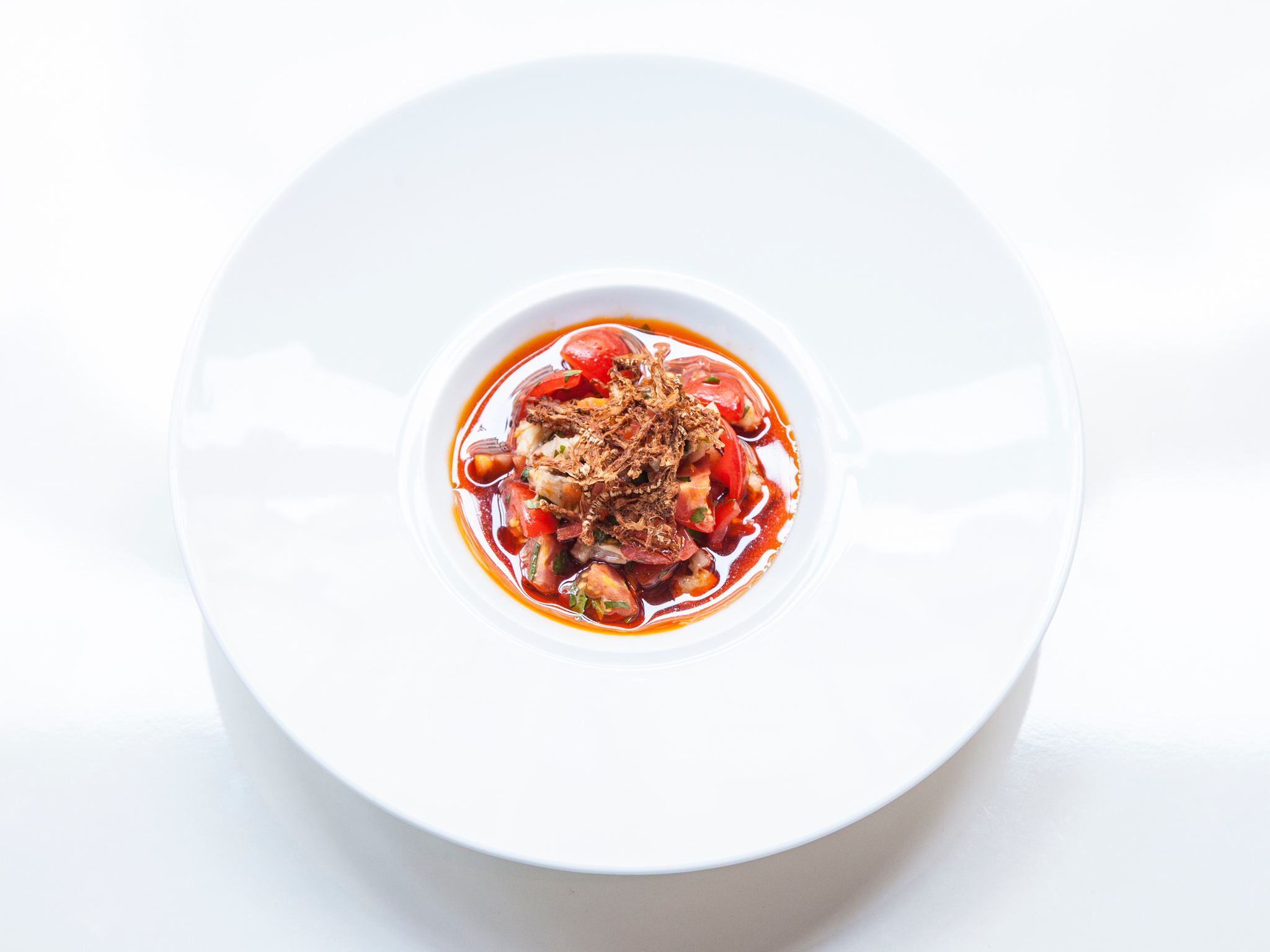 Tomato and smoked eel at Xu