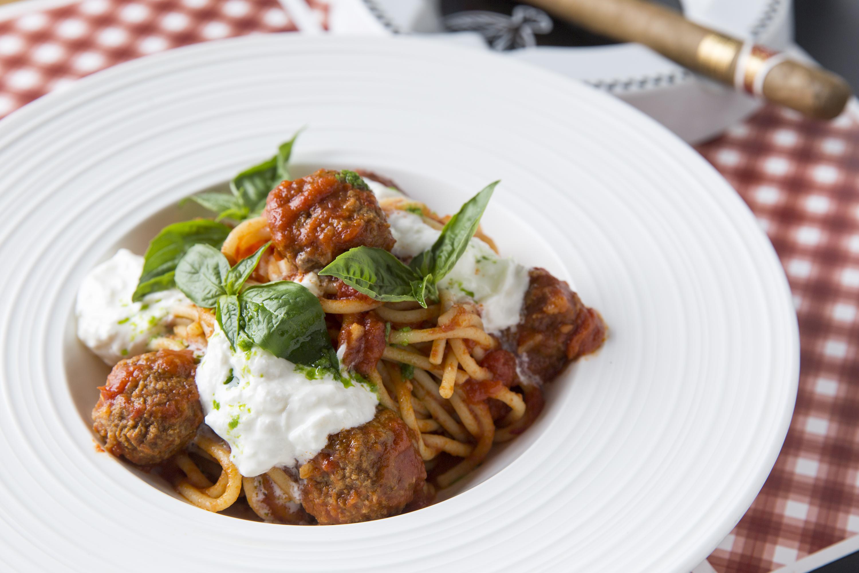 divino new year's meatballs spaghetti