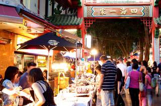 People shopping at Chinatown Night Market