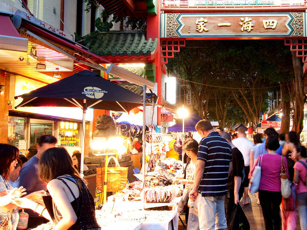 People shopping at Chinatown Night Market