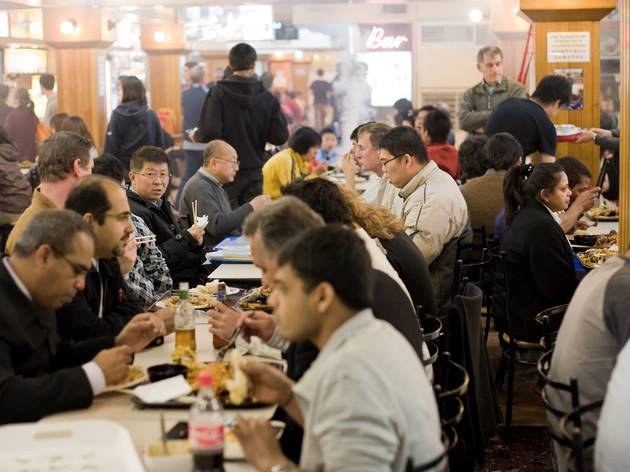 People eating at Dixon House Food Court