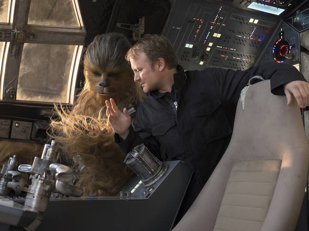 Star Wars: The Last Jedi..L to R: Chewbacca (Joonas Suotamo) and Director Rian Johnson..Photo: David James..©2017 Lucasfilm Ltd. All Rights Reserved.