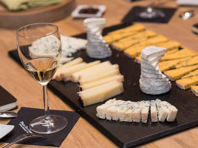 Cheese and wine tasting in a cellar