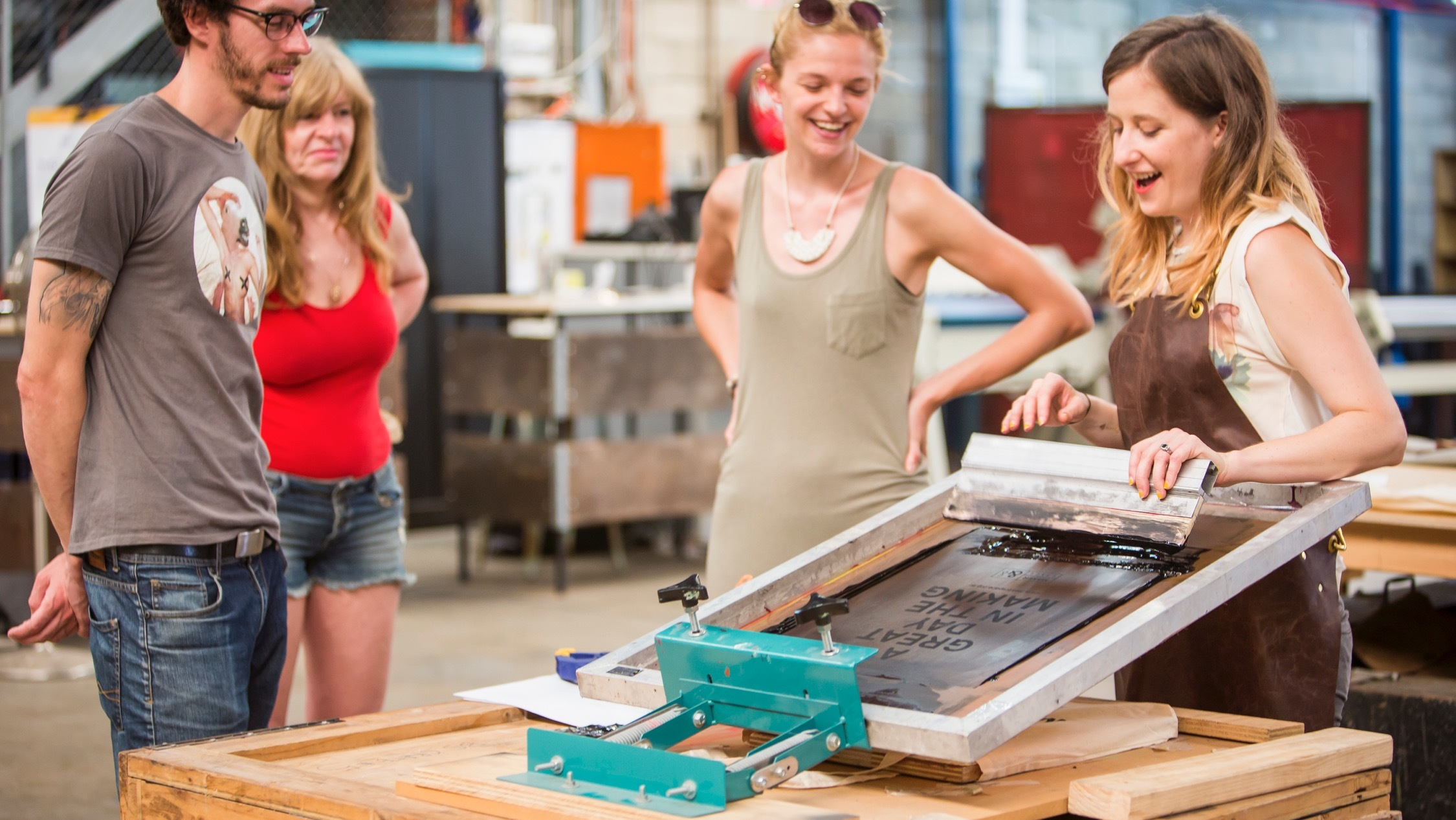Screen printing at Makerspace and Company Marrickville