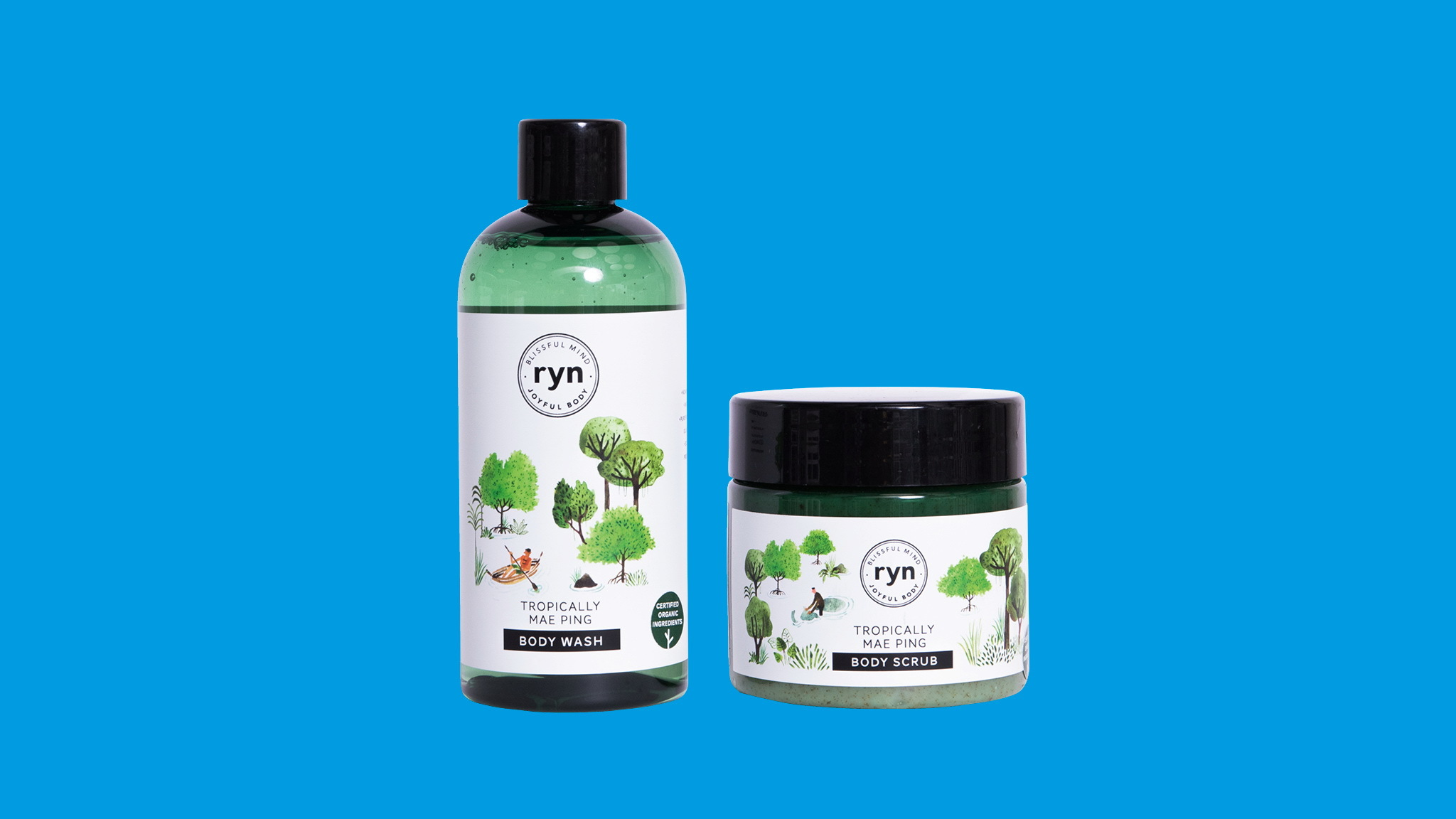 Tropically Mae Ping body wash and body scrub, Ryn, Ecotopia, Gift Guide