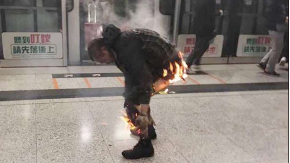 There was a firebomb on the MTR