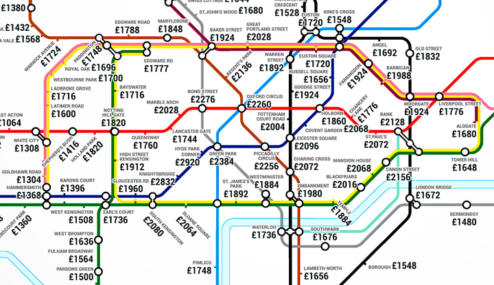 the average rent tube map