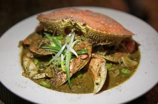 Miso black peppercorn crab at Pesce e Riso
