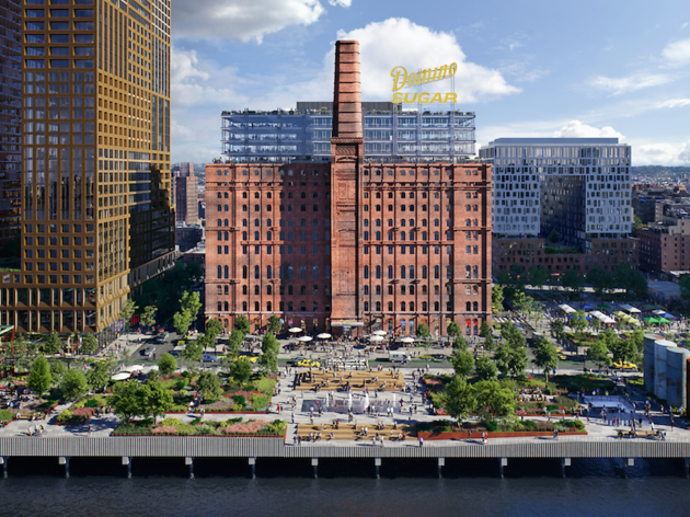 A huge new Williamsburg waterfront park will dominate the old Domino's factory this summer