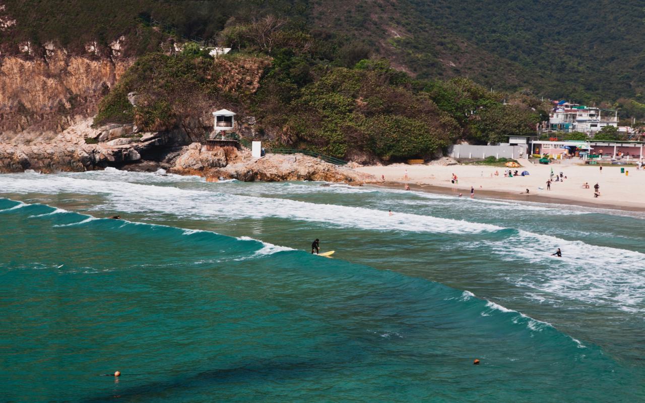 Surfing at Tai Wan in Sai Kung