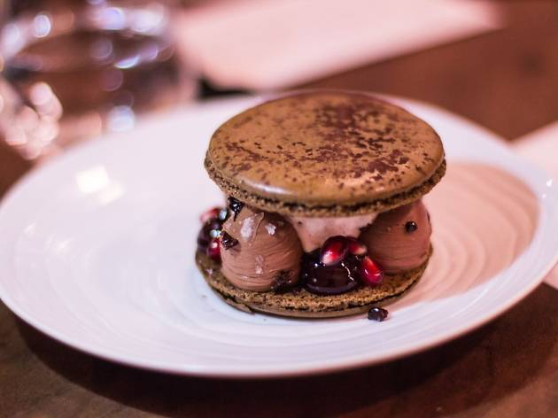 Grand Macaronn with Illanka Chocolate cremeux at Petit Crenn