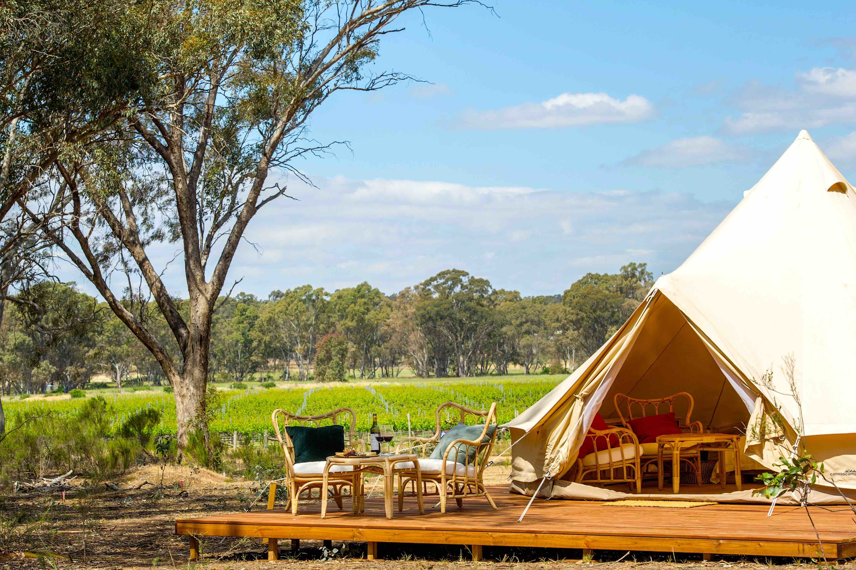 Victoria's newest glamping spot is located in a winery