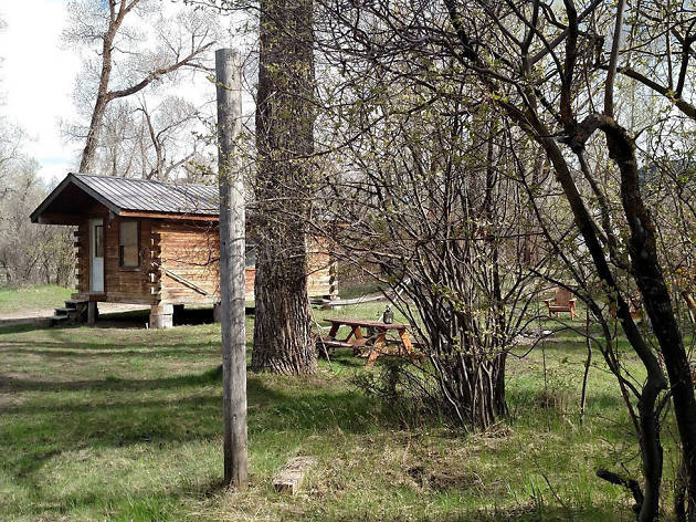 Log cabin on Snake River, Irwin, ID