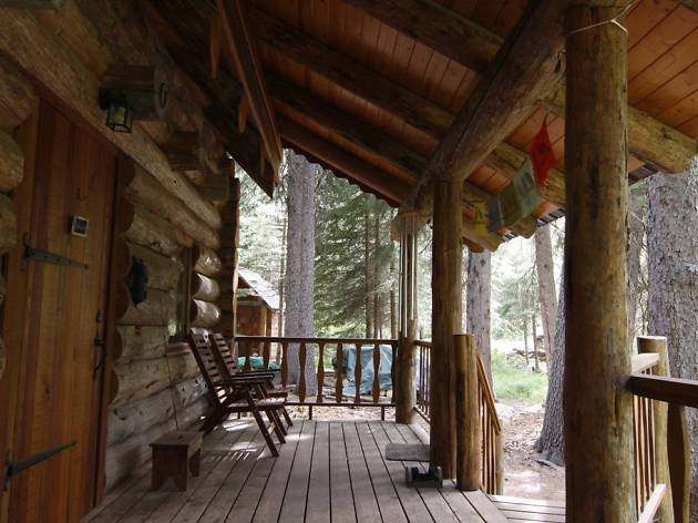 Log cabin on Tumalo Creek, Bend, OR