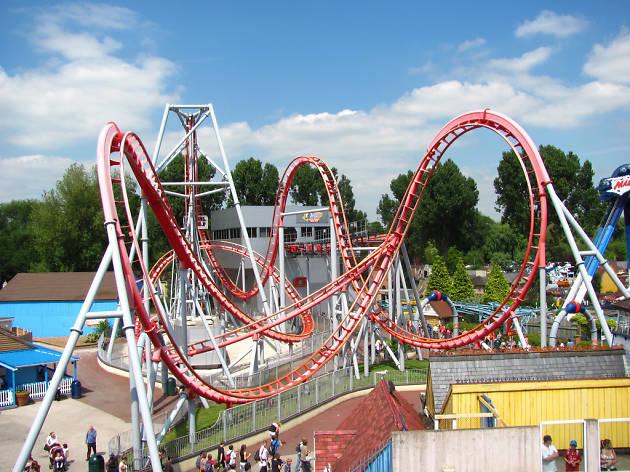 Board a rollercoaster at Drayton Manor