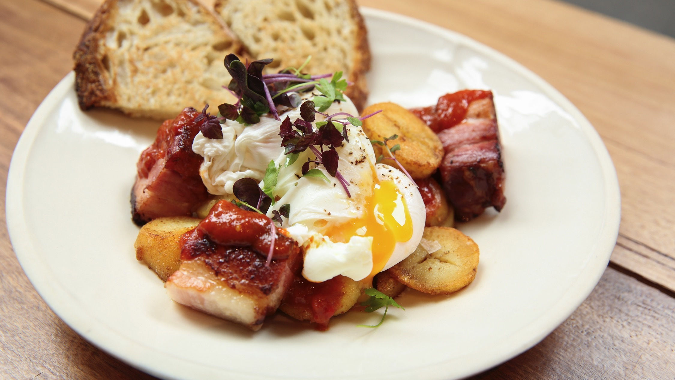 Bacon and eggs with toast At Pablo and Rustys Sydney