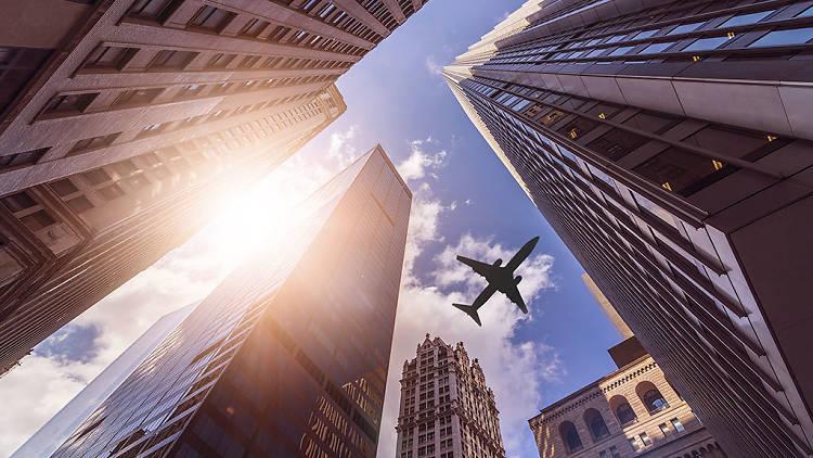 Plane flying over NYC