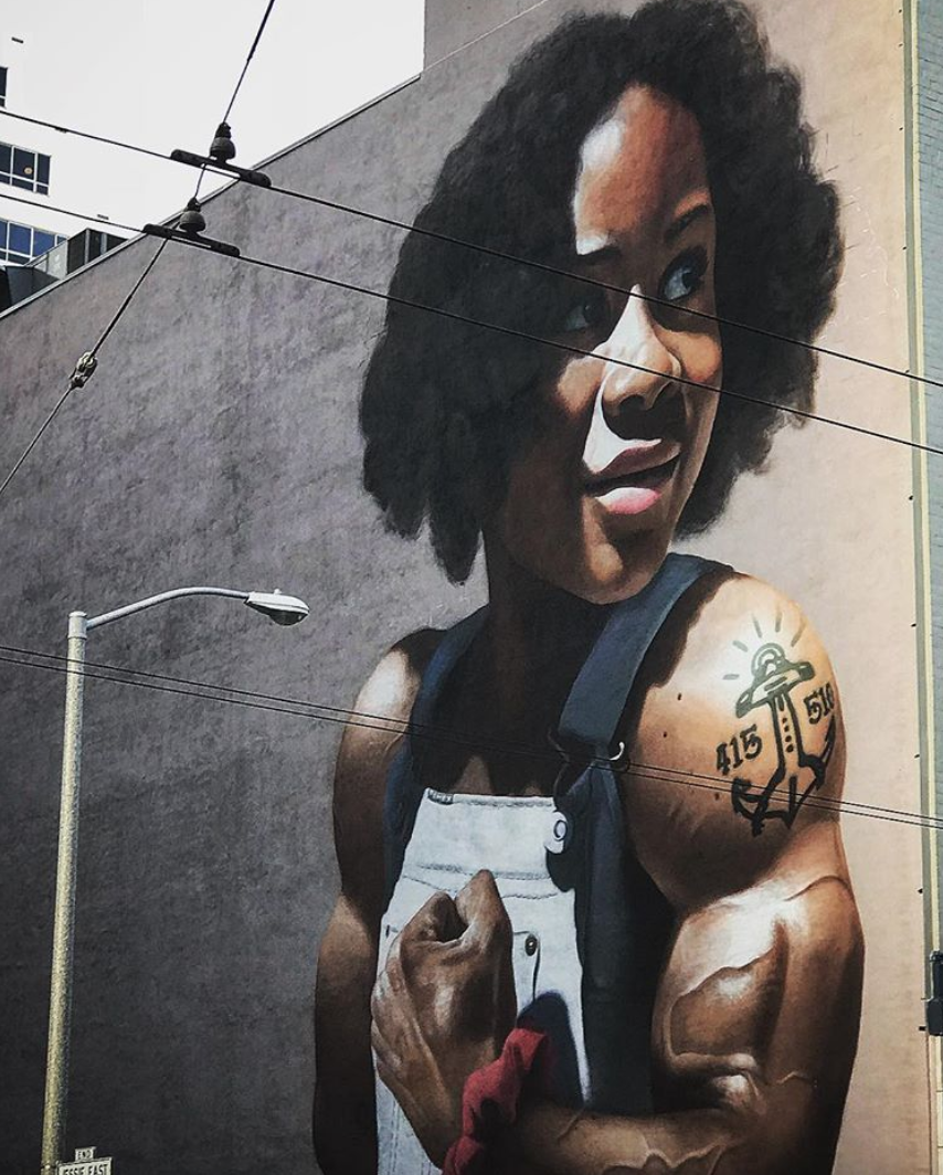 Young black girl mural