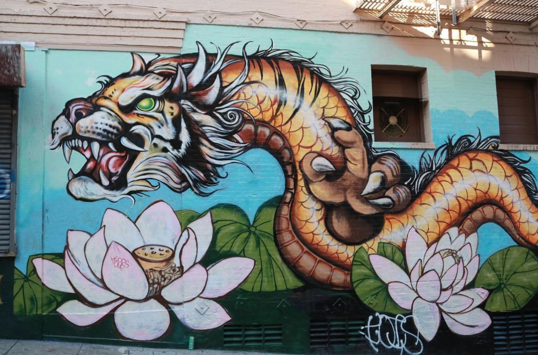 Tiger dragon mural Chinatown