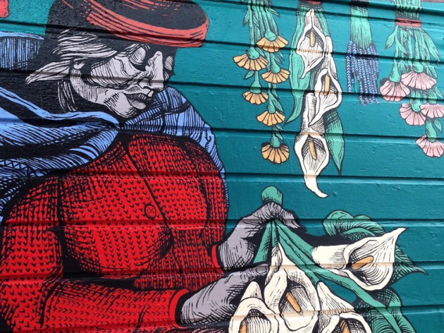 Flower lady mural