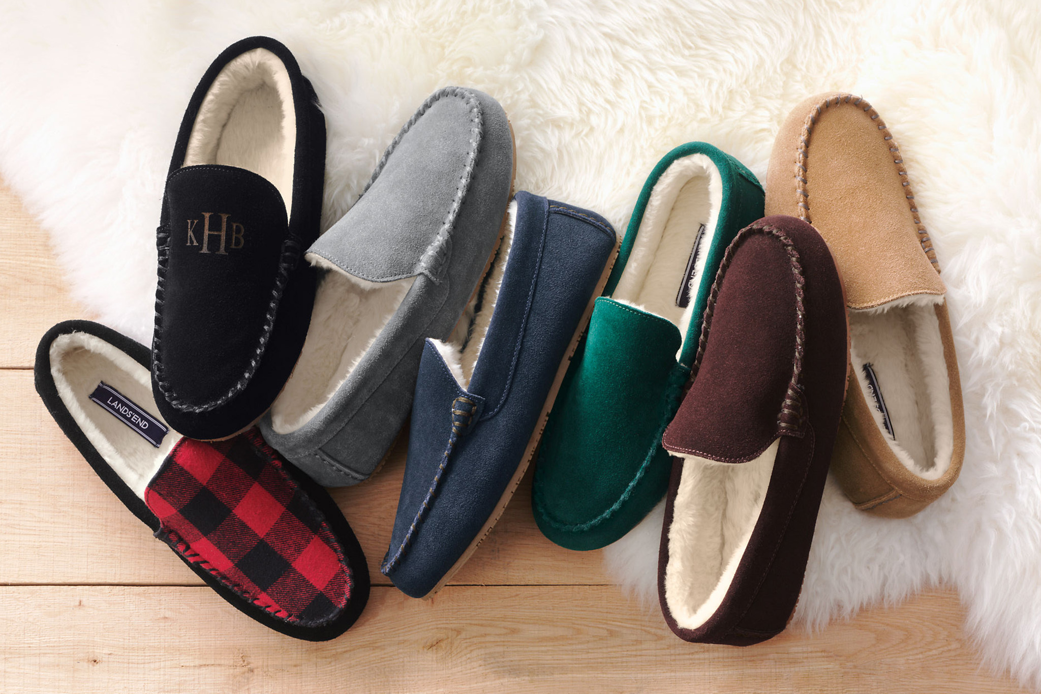 Lands' End Monogrammed Suede Moc Slippers