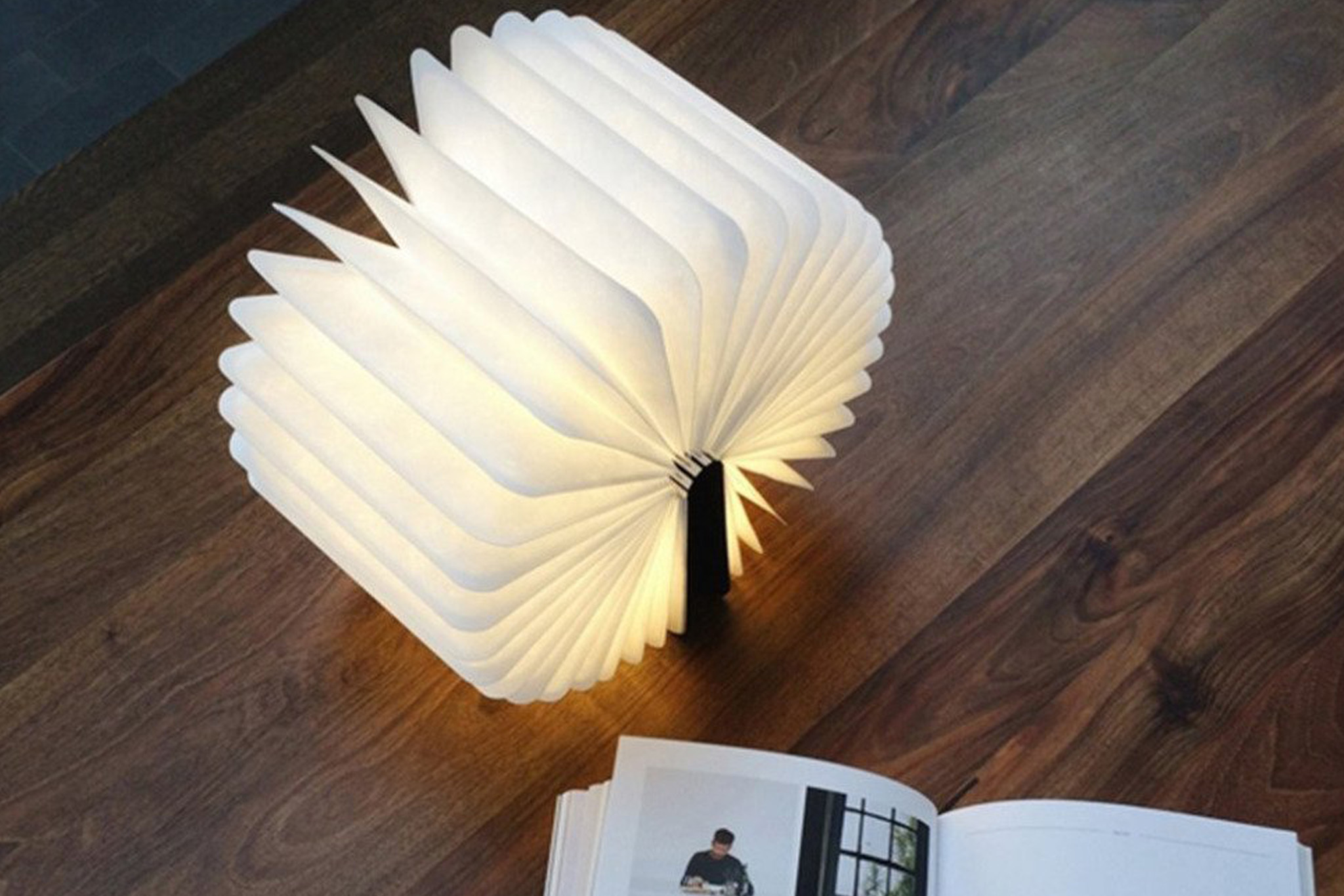 Rechargeable Wooden Folding LED Book Light