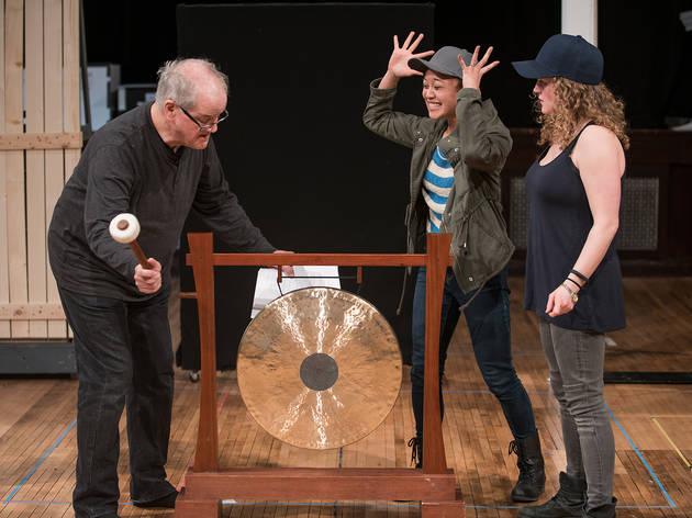 Francis Guinan, Emjoy Gavino and Caroline Neff in rehearsal for You Got Older