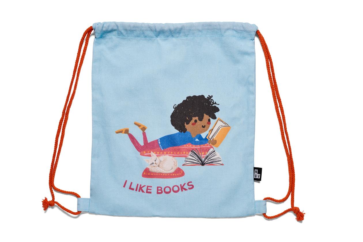 NGV Triennial 'I like books' drawstring bag