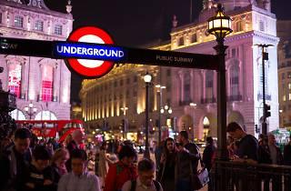 London Underground, Night, Night Tube, Piccadilly Circus, Roundel, Underground, entrance, subway, tube