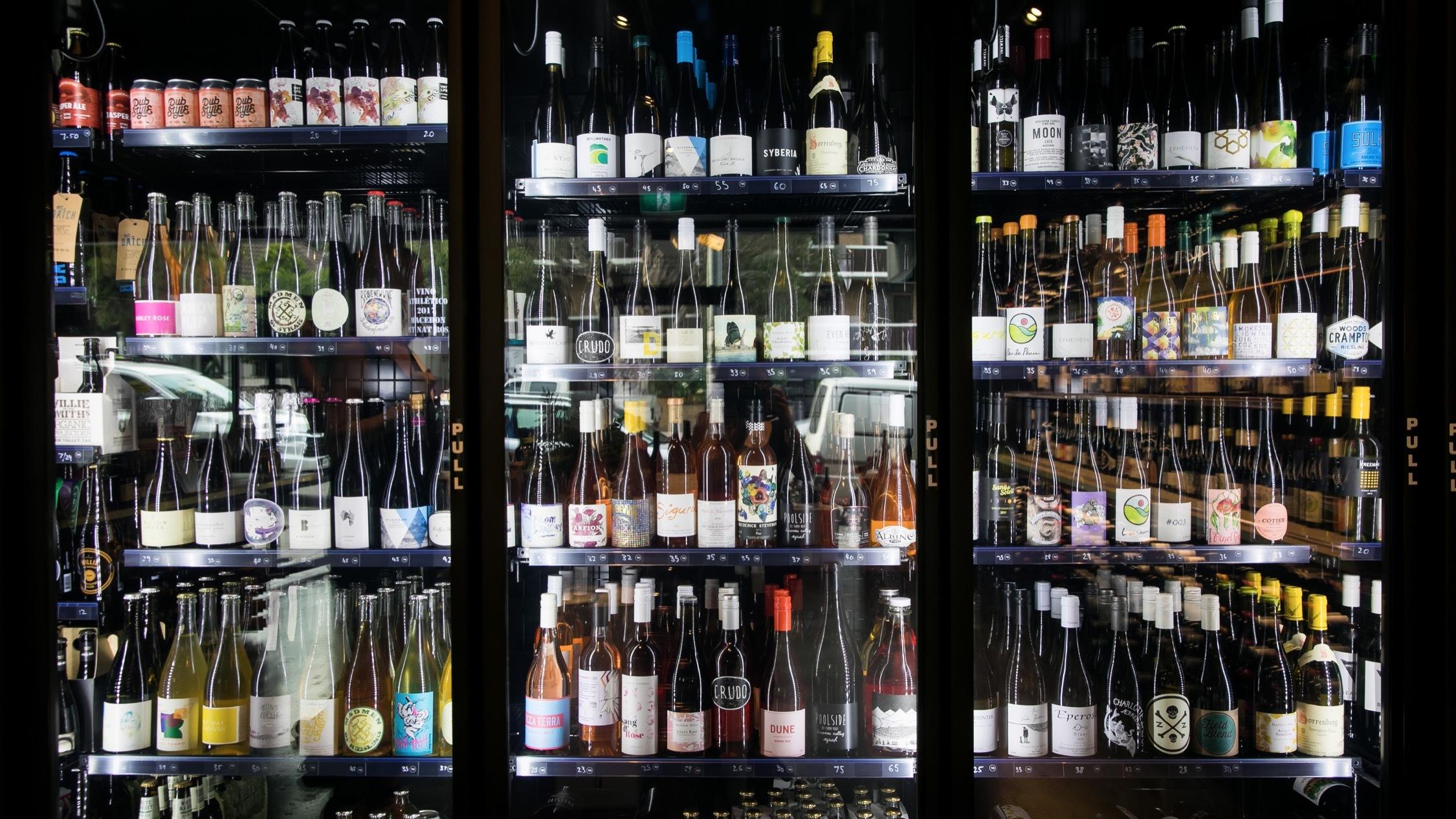 Wine cellar at Native Drops Bondi