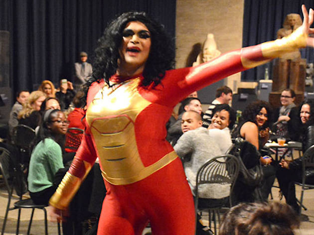 Drag queen Jasmine Anastasia performs at the Penn Museum