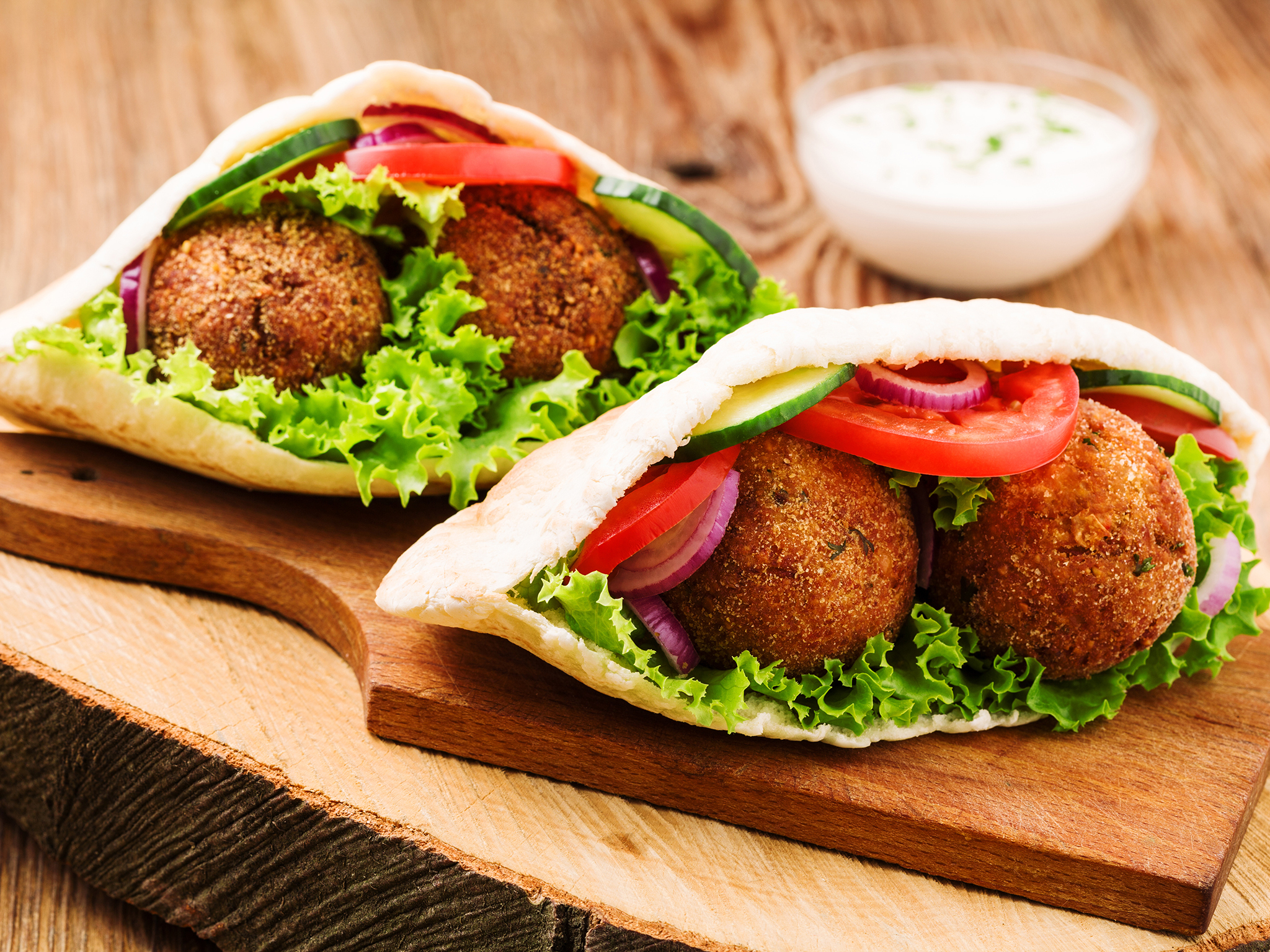 Falafel - paired with sabich makes tasty street food in Tel Aviv
