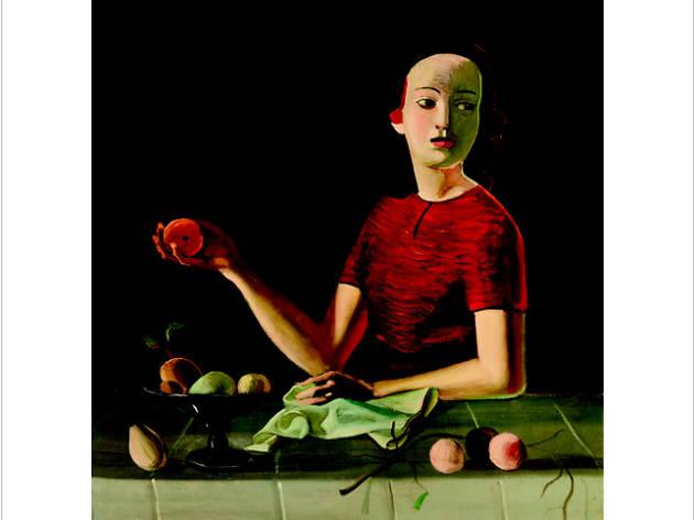 Geneviève con manzana