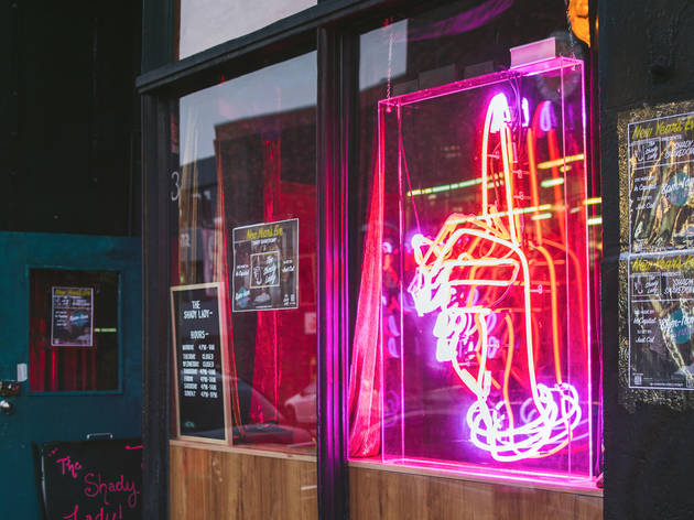 Inside neon sign at The Shady Lady