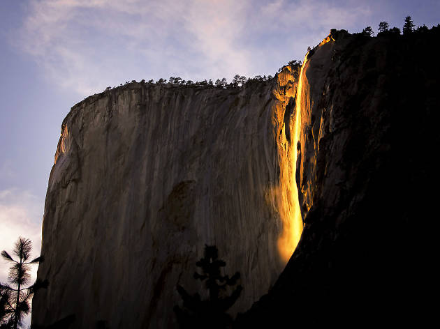The famous firefall at Horsetail Falls in Yosemite National Park