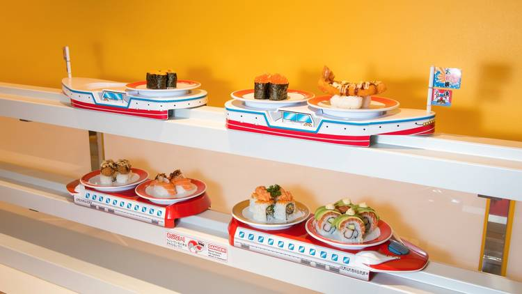 Sushi on tray at Genki Sushi Train