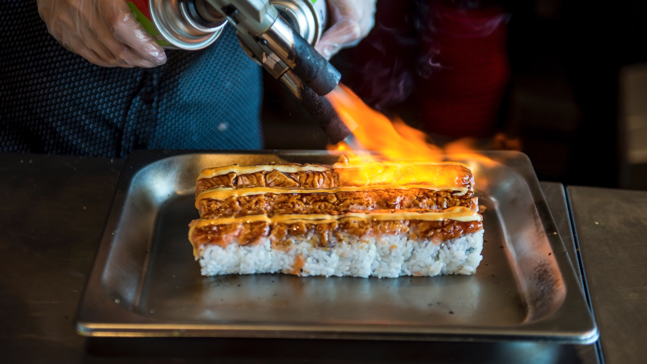 Flame sushi at GouSushi Sydney