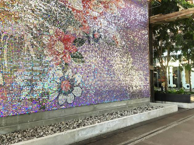 Floral sequined wall at Shop 543