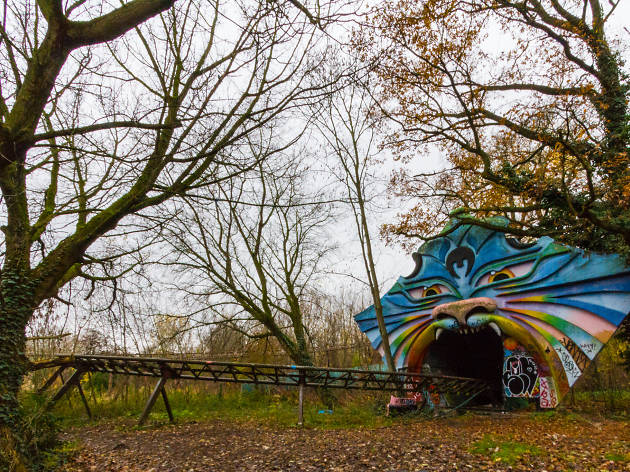 The rollercoaster at Spreepark, Berlin's abandoned amusement park.