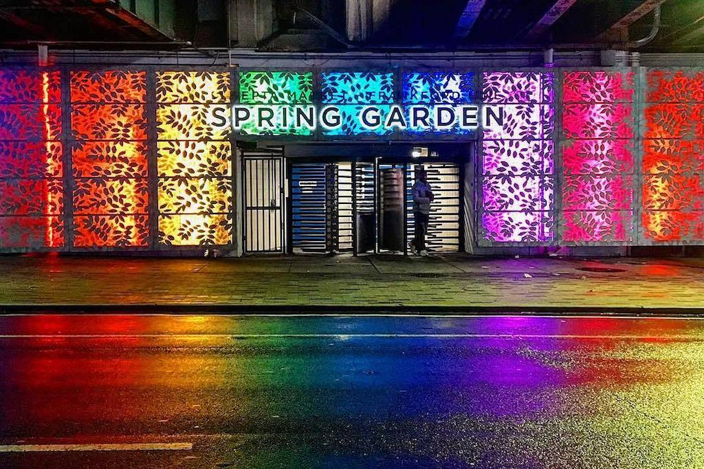 The glowing art work at Spring Garden Station is stunning